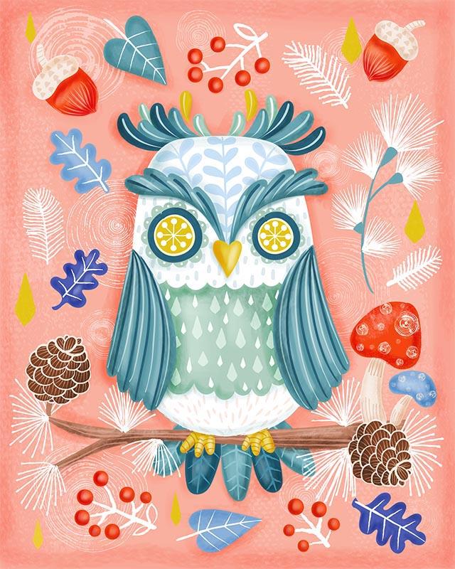 Christmas woodland owl illustration