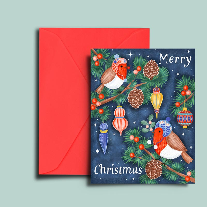 Christmas woodland robin birds illustration greeting card