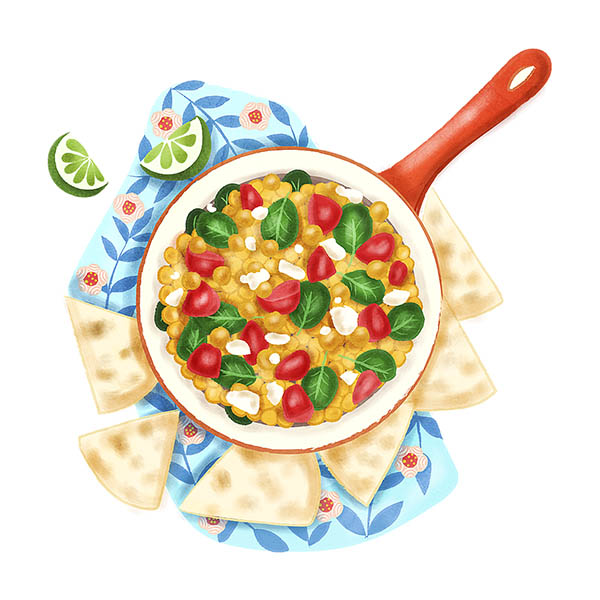 Achiote Chickpeas food illustration