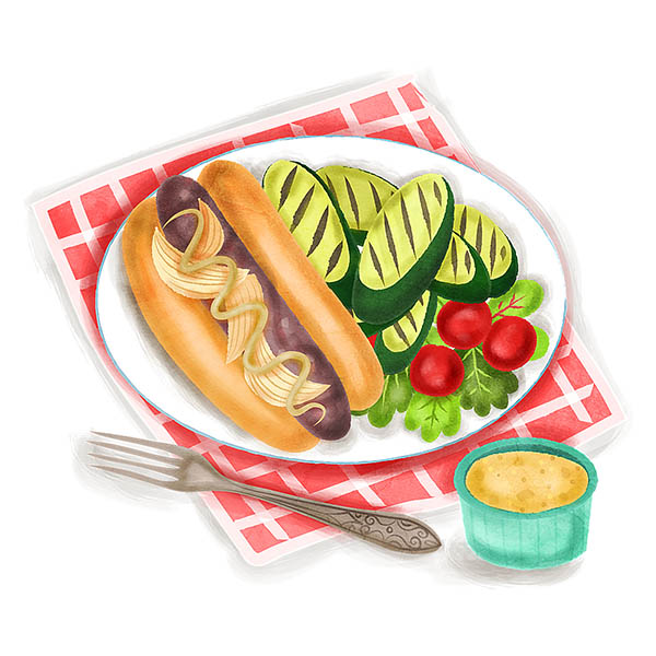 Beer Simmered bratwurst food illustration