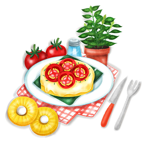 Grilled Pineapple with cheese and tomatoes food illustration
