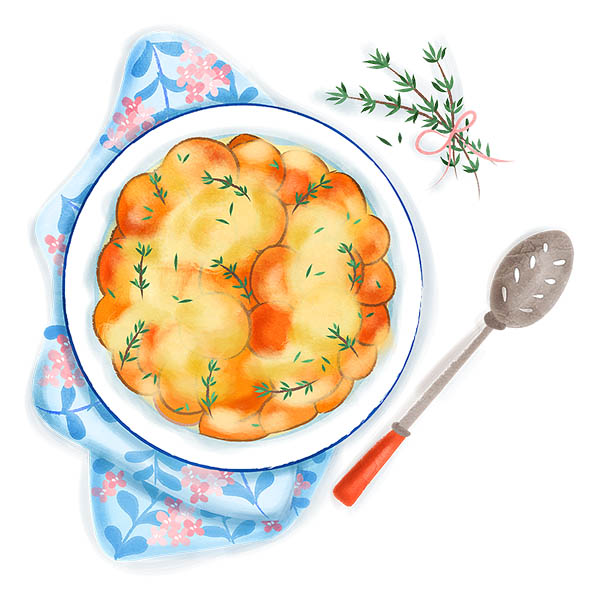 Sweet Potato Gratin Food Illustration