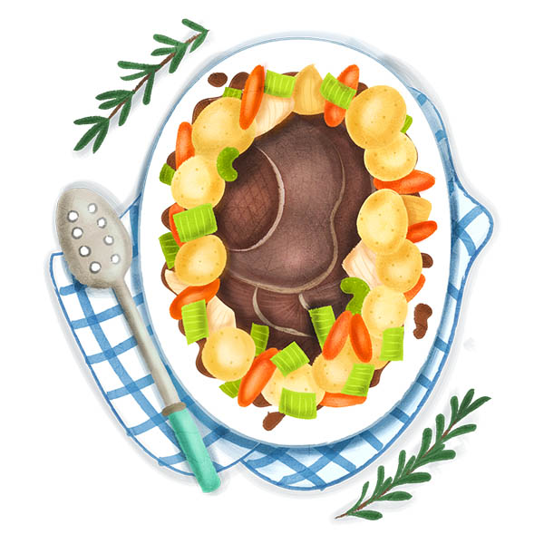 Pot Roast Food Illustration