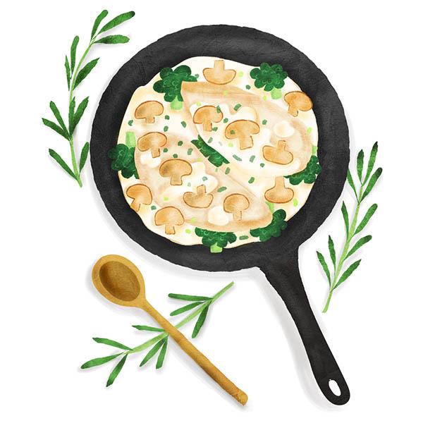Mushroom and Cream chicken with Tarragon illustration