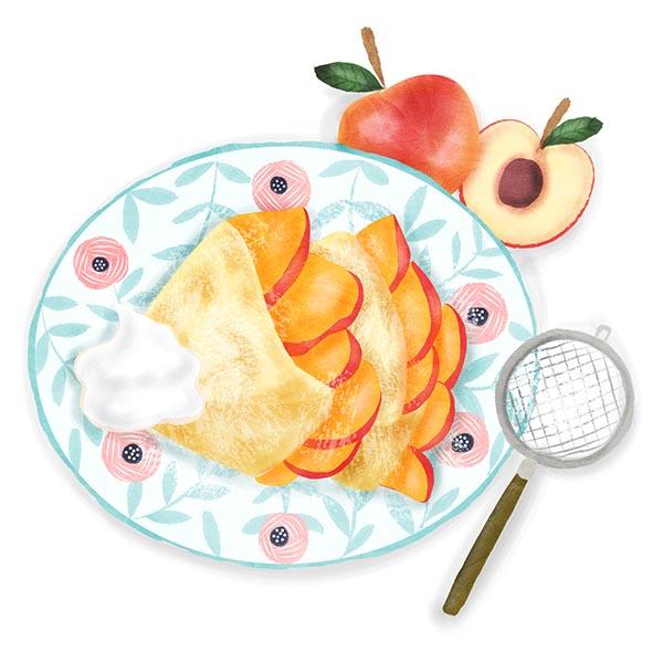 peaches and cream crepe illustration