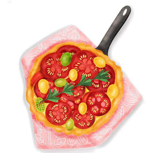 provencal tomato quiche illustration