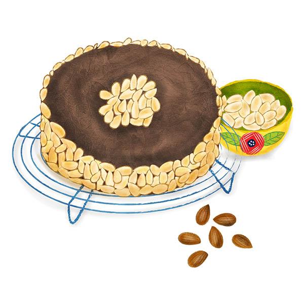 reine de saba cake illustration
