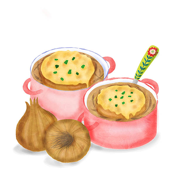 French onion soup illustration