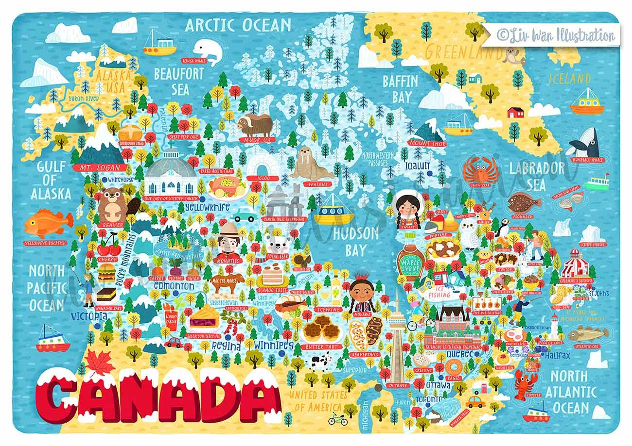 canada map illustration