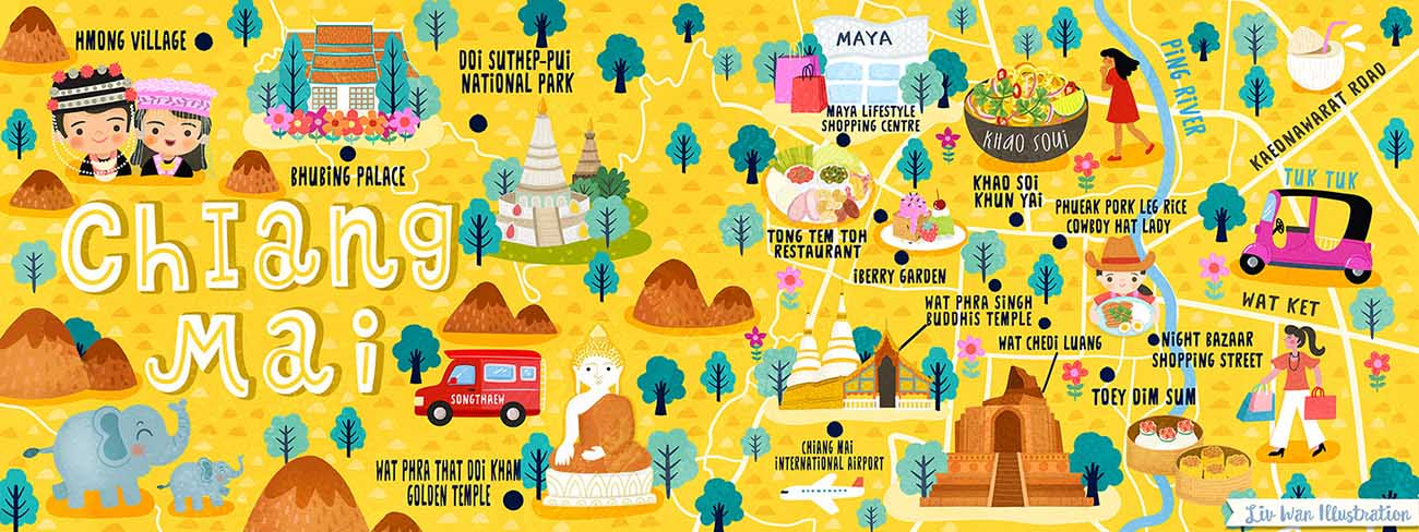 chiang-mai map illustration