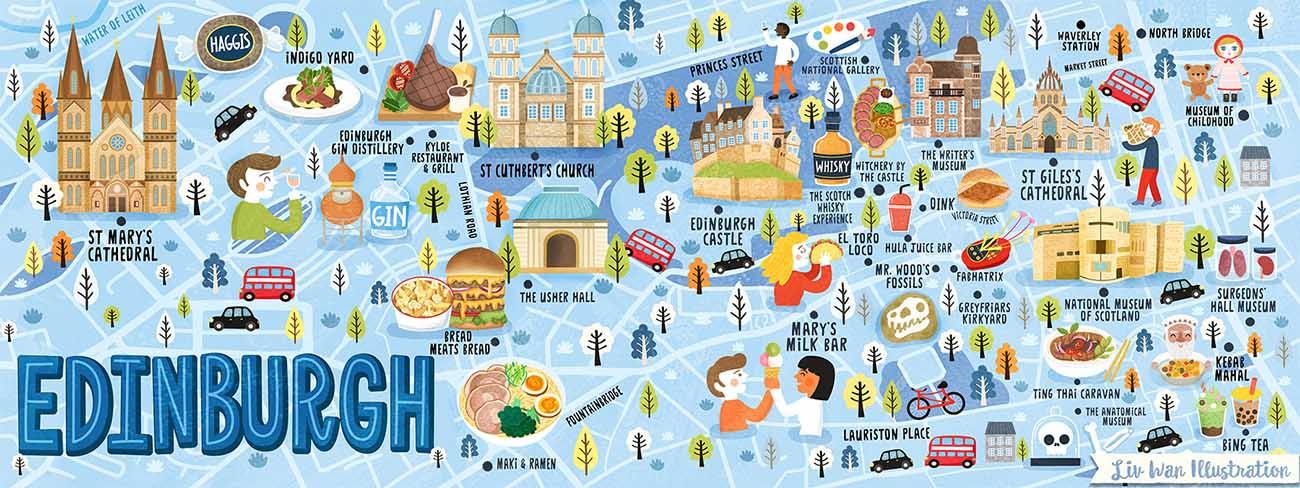 edinburgh map illustration