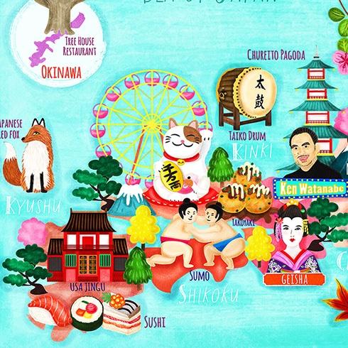 japan map illustration