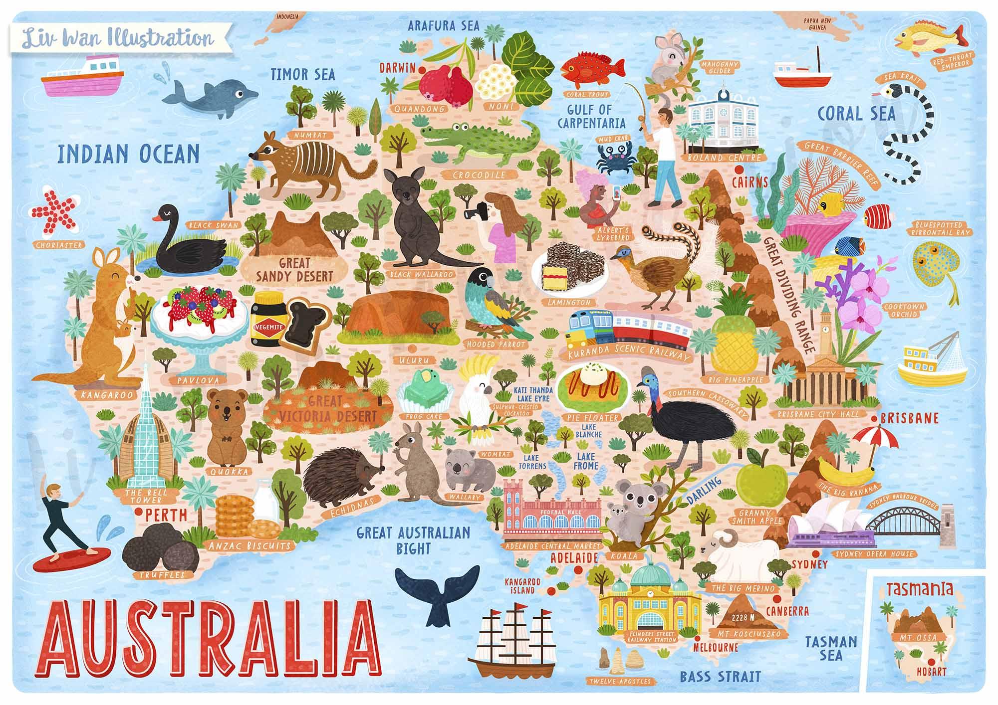 australia map illustration