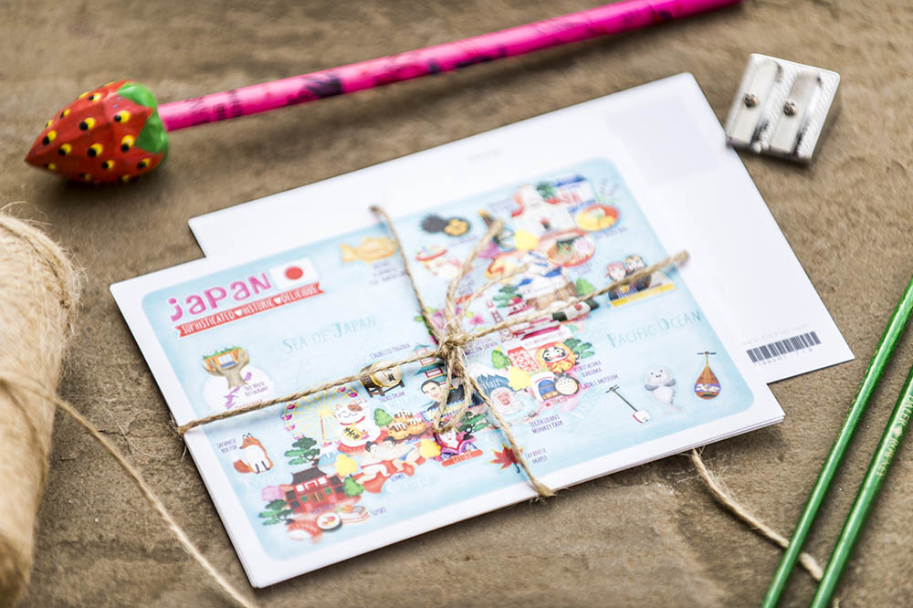 japan map illustrated postcard