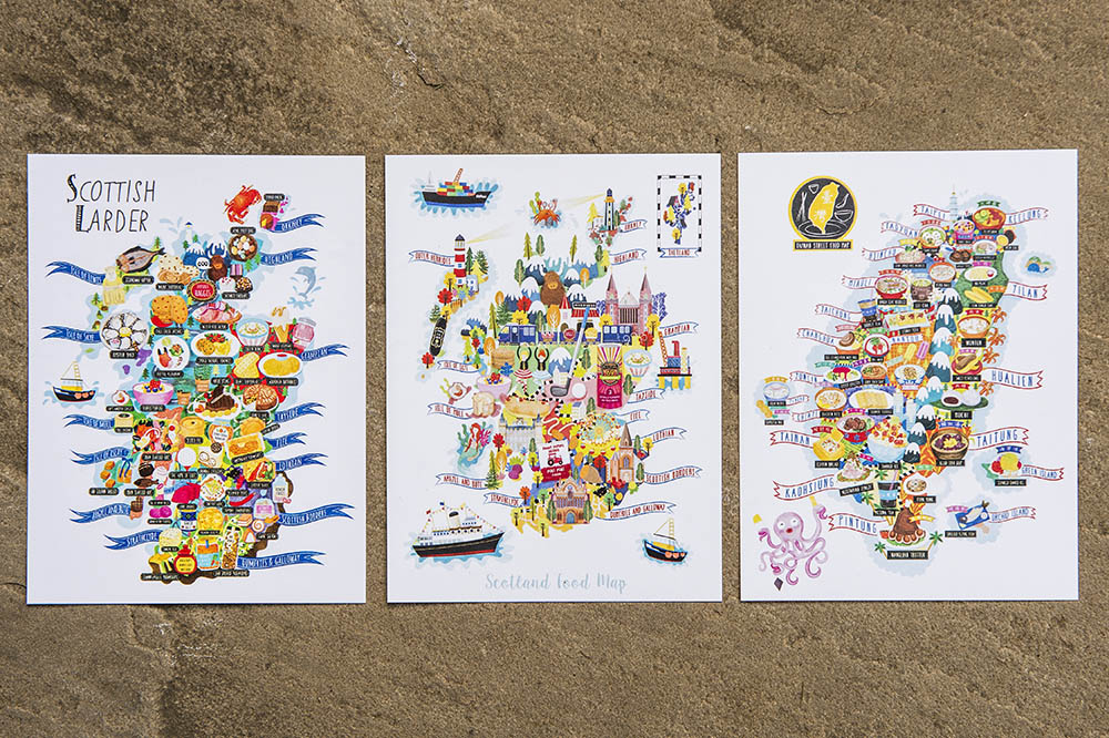 illustrated map postcards