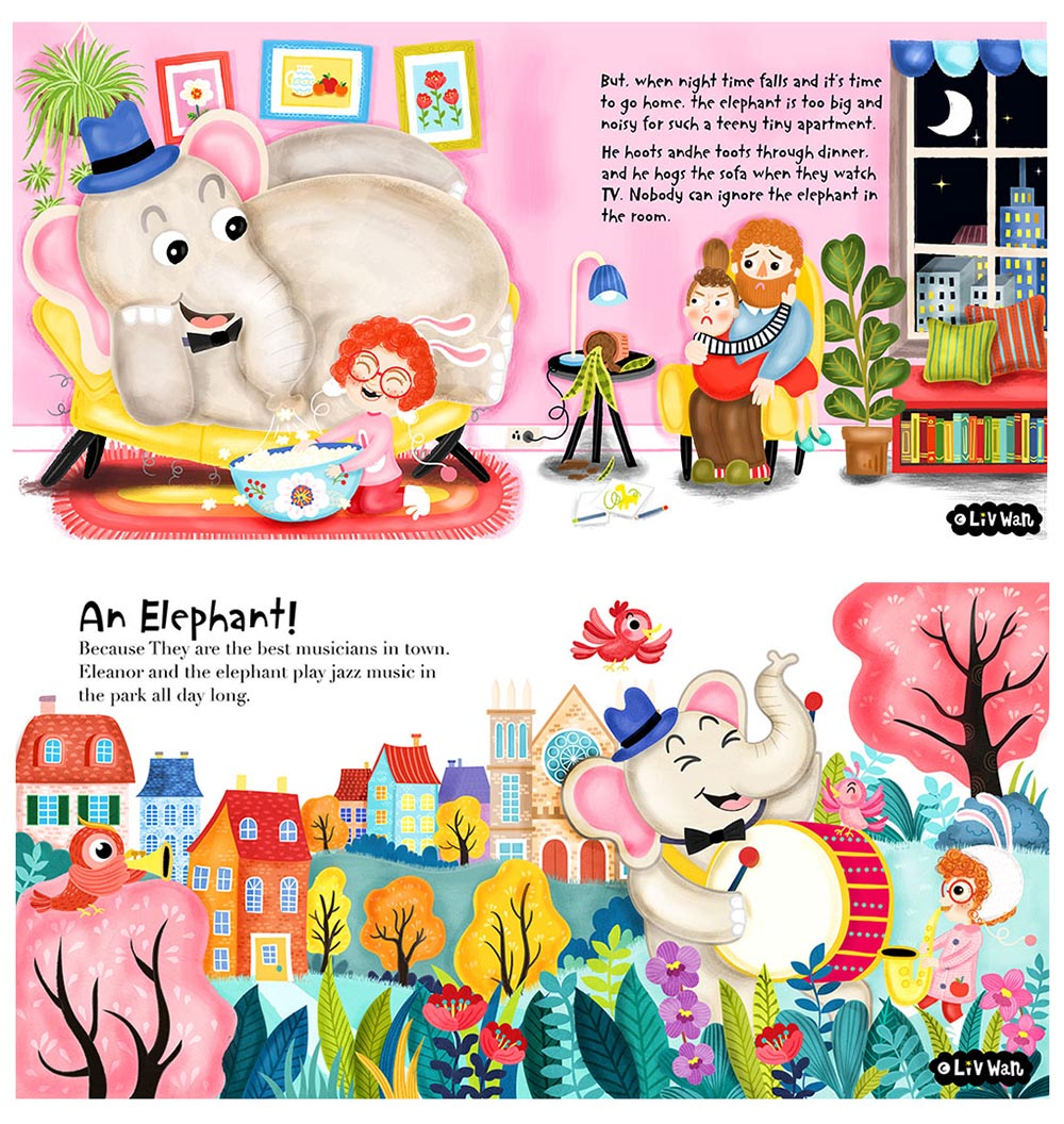 Chiildrens book illustration pet problems