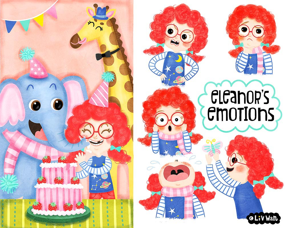 Childrens book character emotions illustration