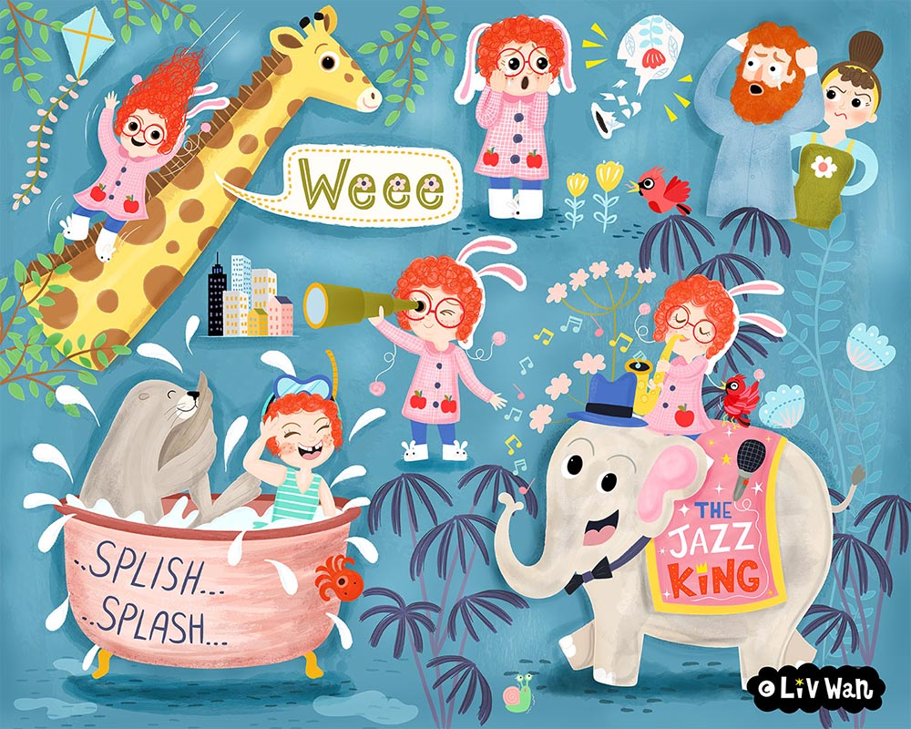 Childrens book character posing illustrations