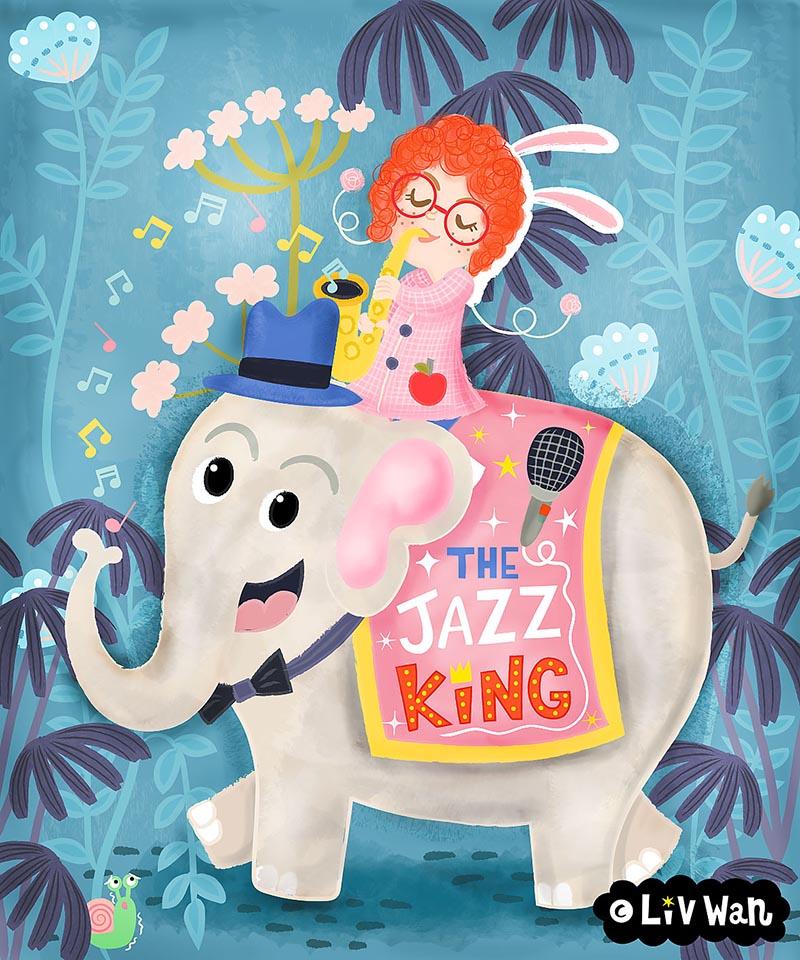 childrens book character riding elephant illustation