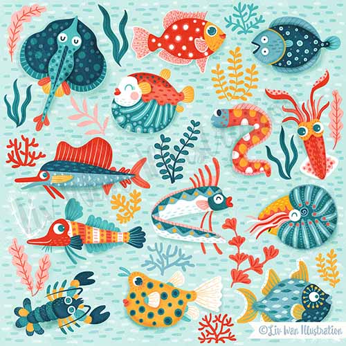 sealife friends surface pattern
