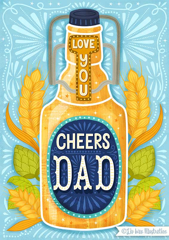 fathers day beer card illustration