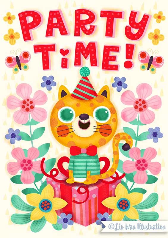 jaguar birthday card illustration