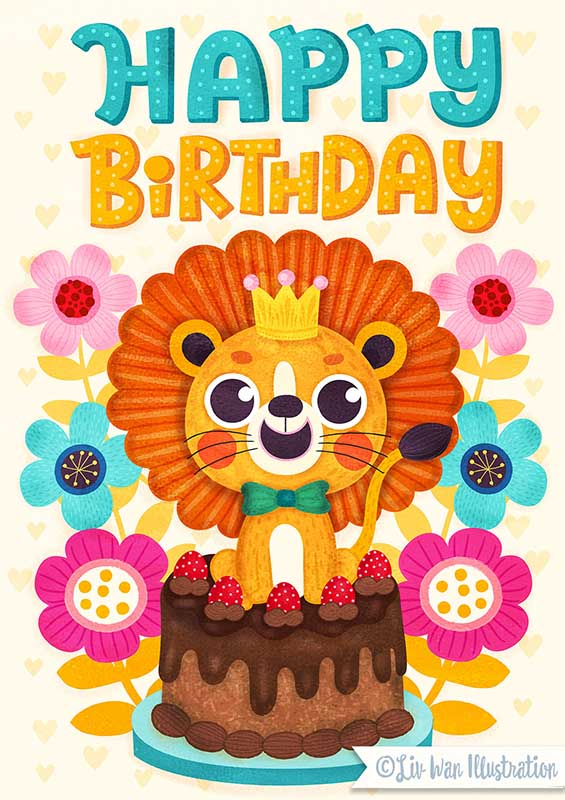lion birthday card illustration