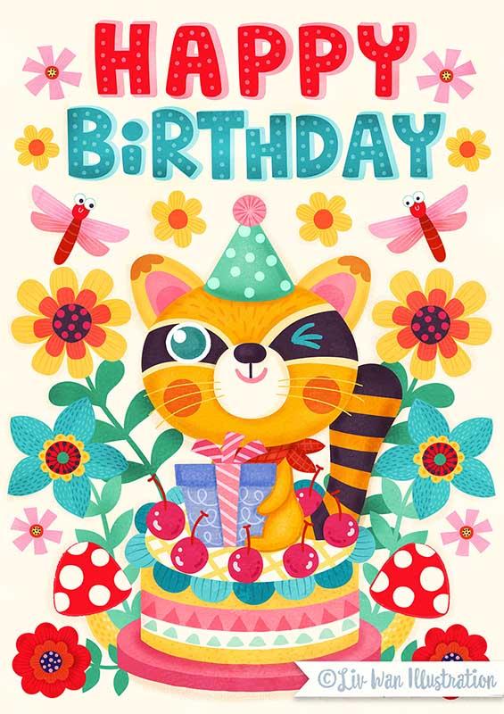 racoon birthday card illustration