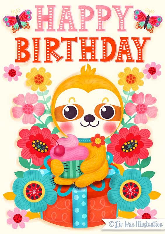 sloth birthday card illustration