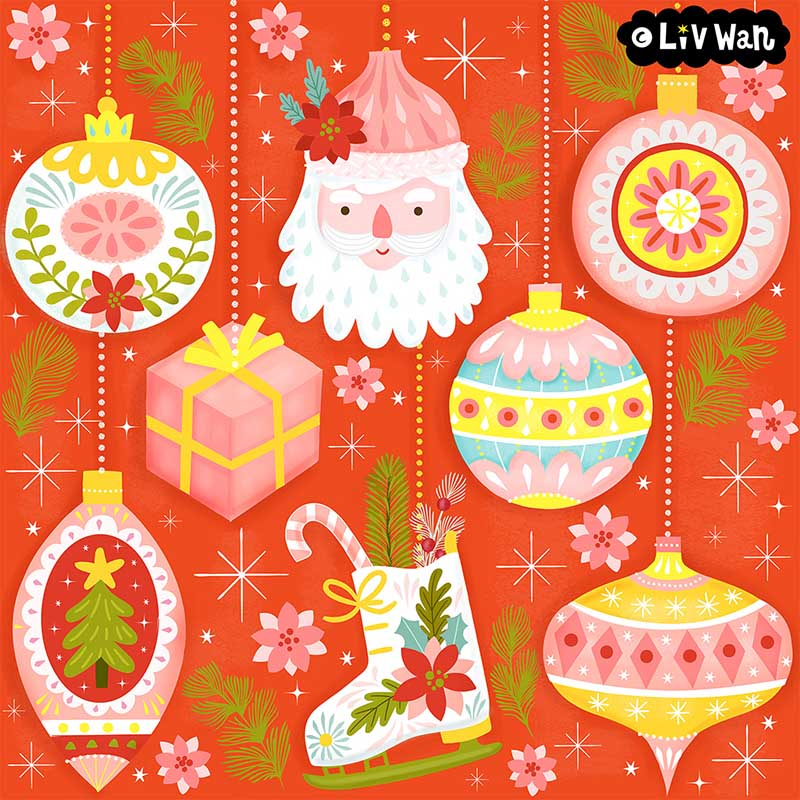 christmas bubbles pattern illustration