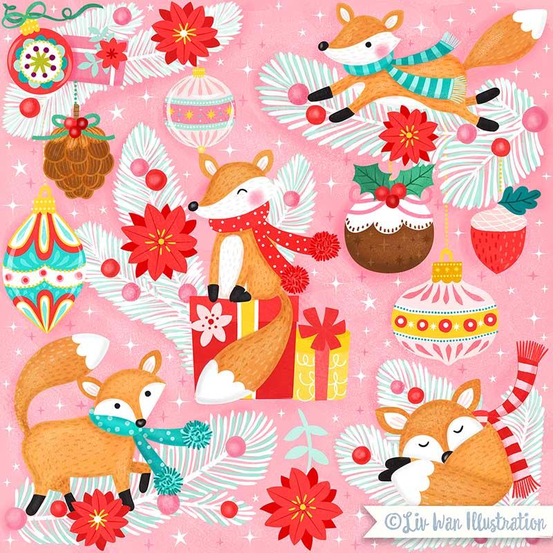 christmas fauna fox illustration