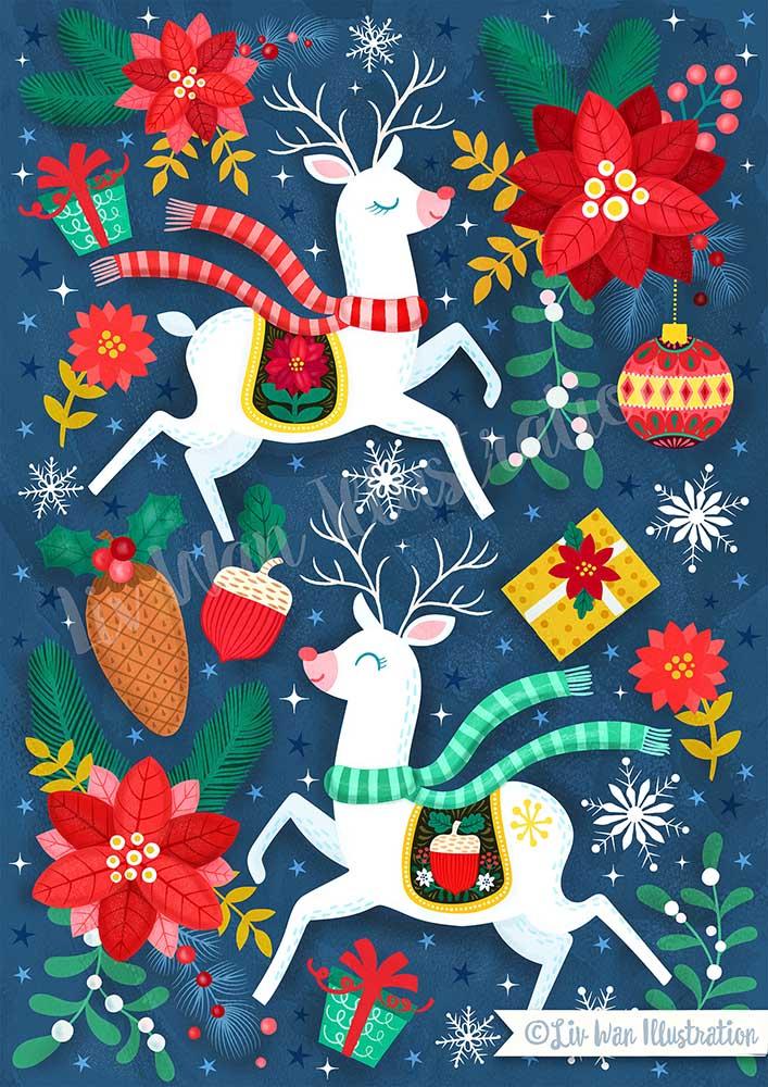 dark blue reindeer christmas illustration