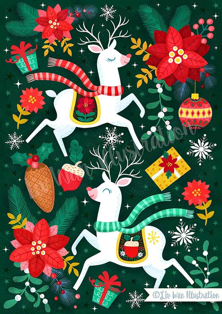 dark green reindeer christmas illustration