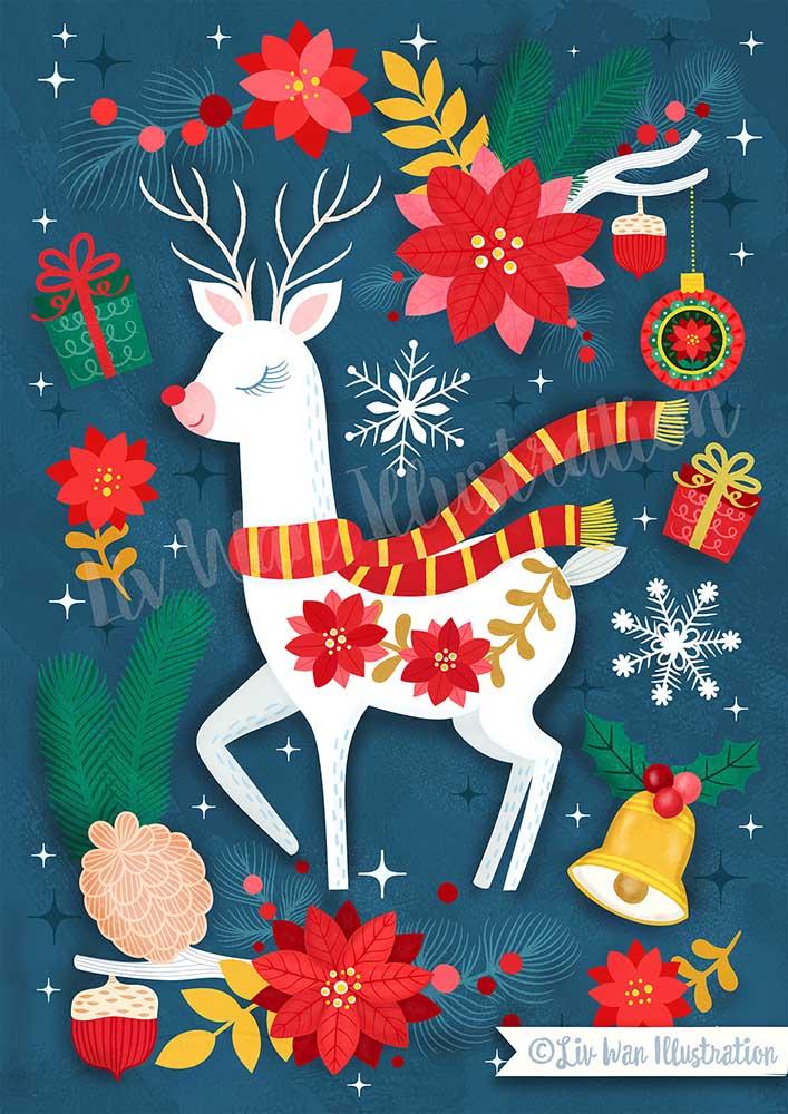 dark blue reindeer holiday illustration