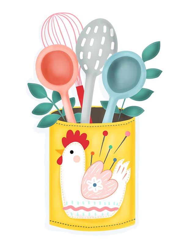 Missy Cluck Utensil Holder Illustration