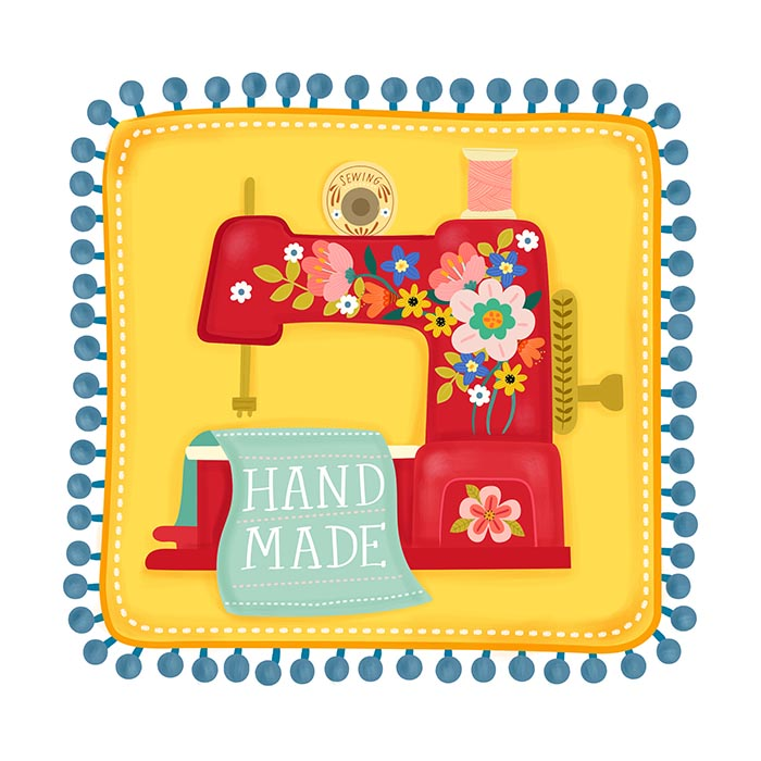 sewing machine pom pom cover illustration