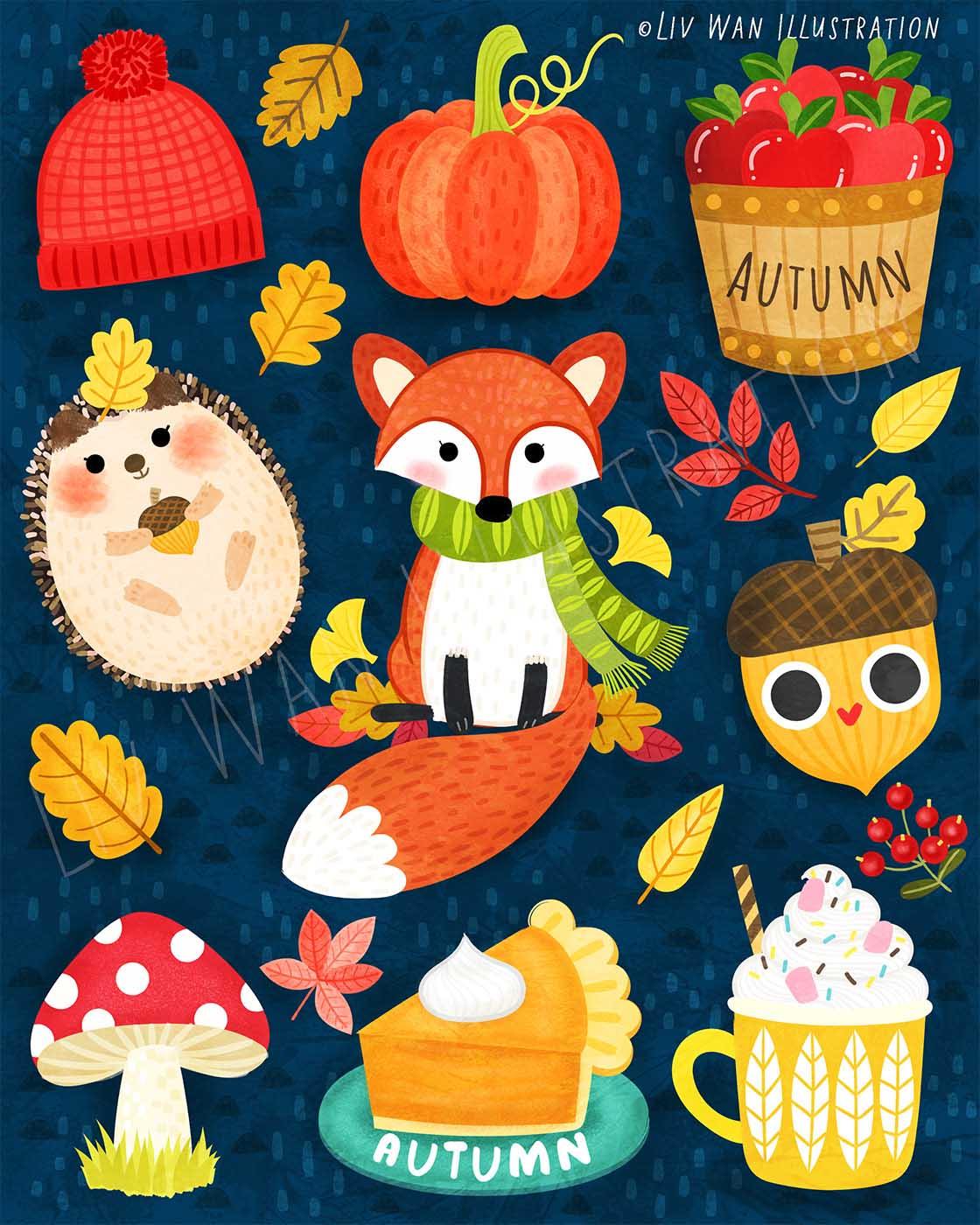 snapchat autumn sticker illustrations