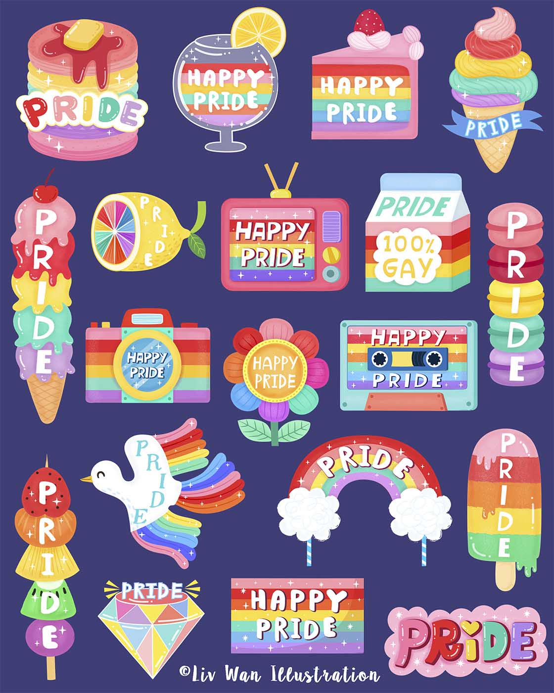 snapchat pride sticker illustrations