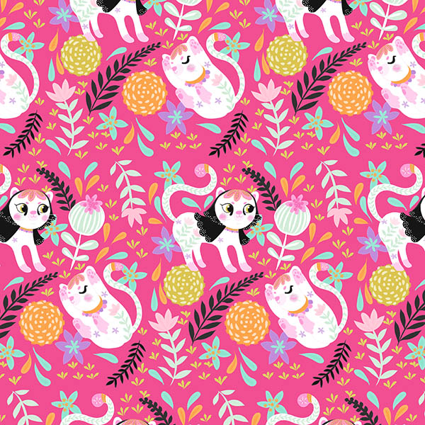 hot pink my little white cat pattern