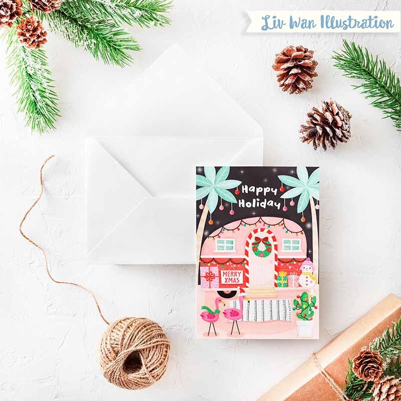 happy holiday xmas card
