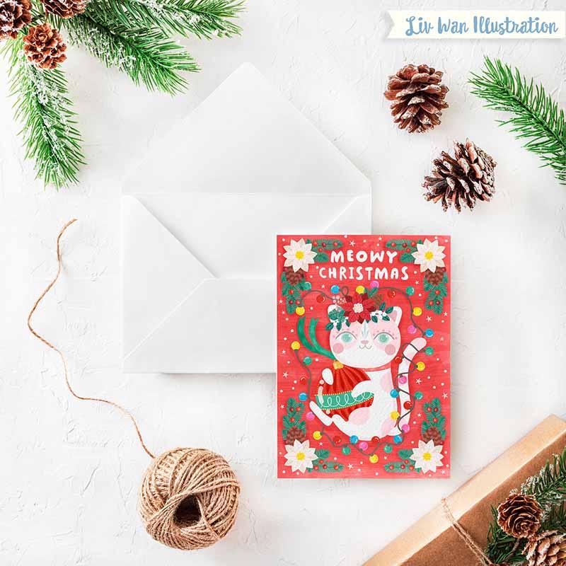 meowy xmas christmas card