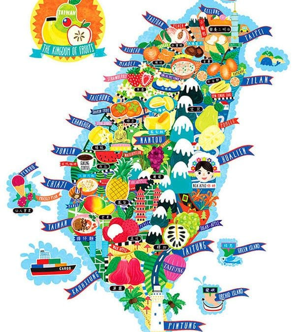 Taiwan Fruit Map Illustration
