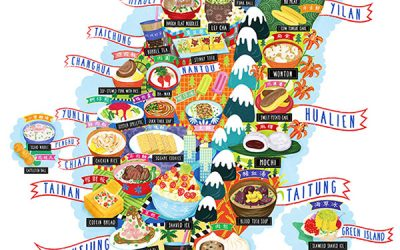 Taiwan Street Food Map Illustration