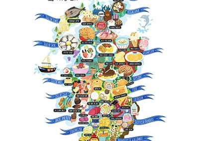 Scotland Food Map Illustrations
