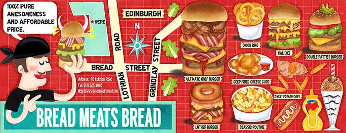 Bread Meats Bread Edinburgh Illustrated Restaurant Guide