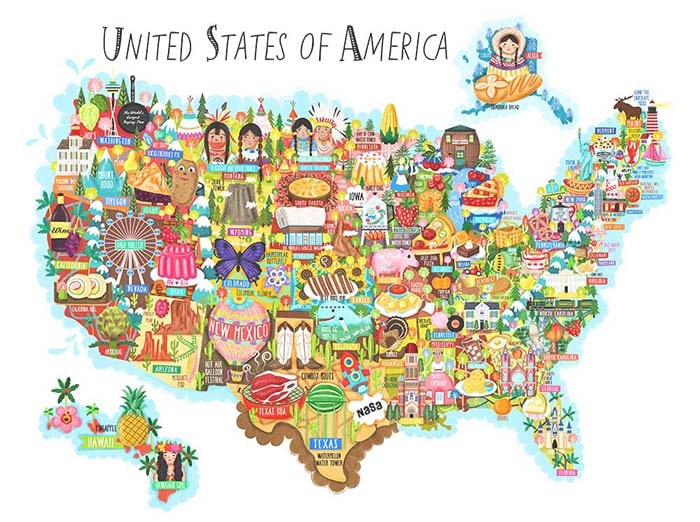 United States of America Map illustration