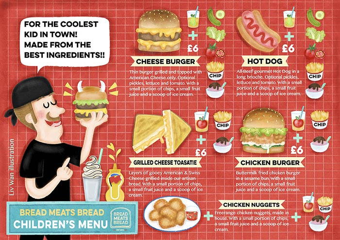 Bread Meats Bread Childrens Menu Illustration