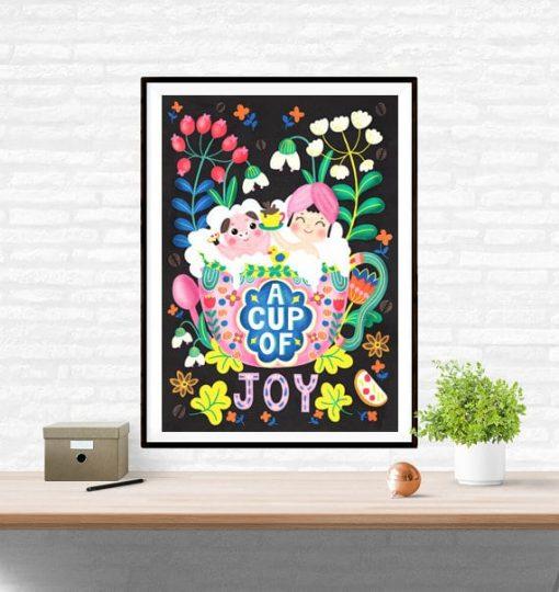 A Cup Of Joy Coffee Art Wall Art Print Illustration