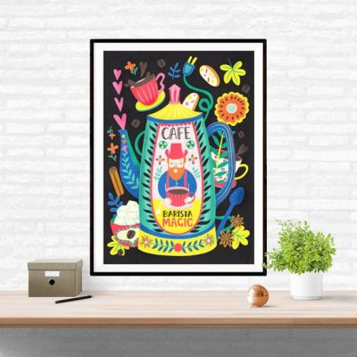 Barista Magic Coffee Art Wall Art Poster Illustration