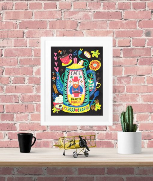 Barista Magic Coffee Art Wall Art Poster Illustration